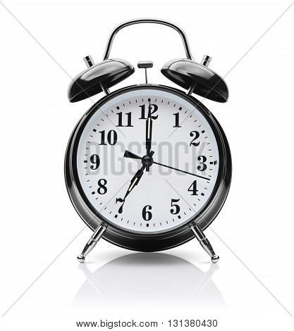 Black alarm clock on a white background