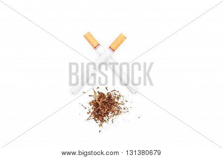 Tobacco On White Background. World No Tobacco Day