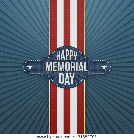 Happy Memorial Day realistic Banner and Ribbon. National American Holiday Background Template. Vector Illustration.