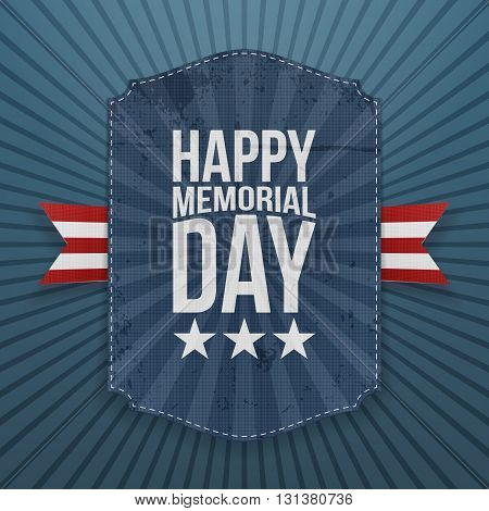 Happy Memorial Day realistic Poster and Ribbon. National American Holiday Background Template. Vector Illustration.
