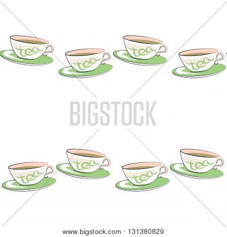 Seamless vector pattern with cute teacups. Colorful cup with green tea. Tea cup and saucer.