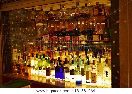 VANCOUVER, BC.  MAY17, 2016.  A well stocked bar on a cruise ship.
