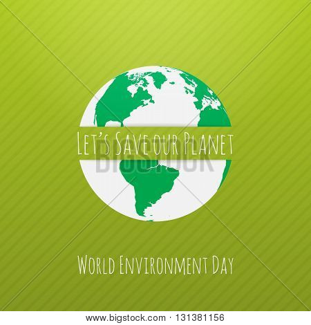 World Environment Day Earth Concept Template. Vector Illustration