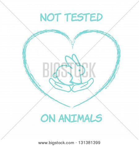 Not tested on animals bunny illustration logo