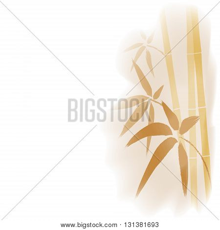 Watercolor stylized bamboo background, eps 10. Bamboo stem and leaves. Card with bamboo.