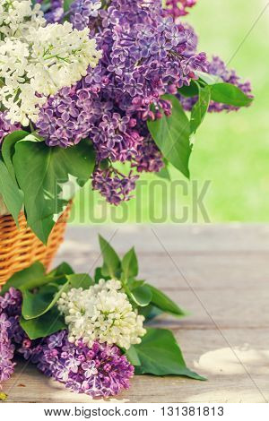 Colorful lilac flowers in basket on garden table. Toned