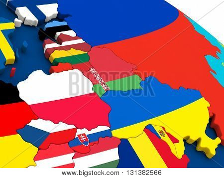 East Europe On Globe With Flags