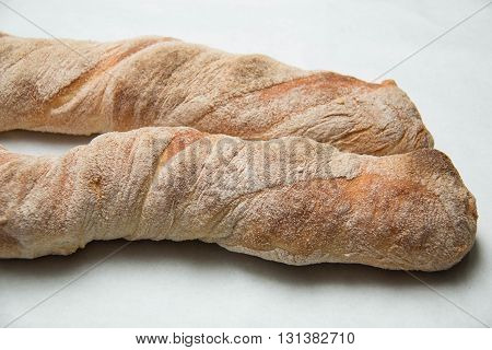 Italian and Ciabatta loaves of bread background