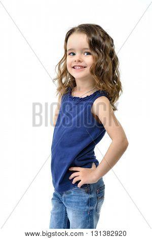 Sweet little happy girl, studio portrait over white background