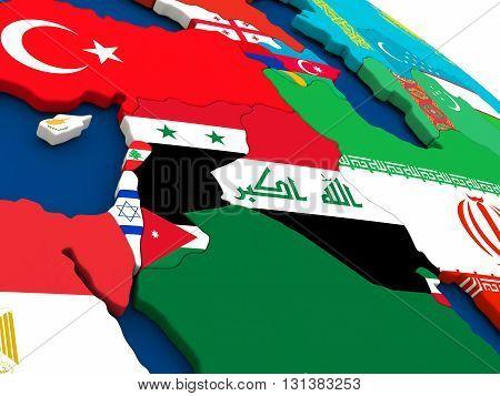 Israel, Lebanon, Jordan, Syria And Iraq Region On Globe With Flags