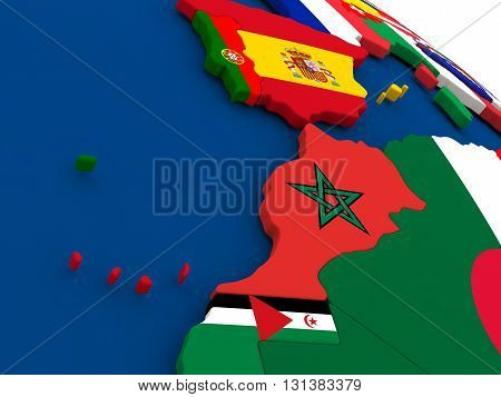 Morocco On Globe With Flags