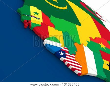 Liberia, Sierra Leone And Guinea On Globe With Flags