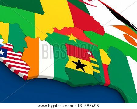 Ivory Coast, Ghana And Burkina Faso On Globe With Flags