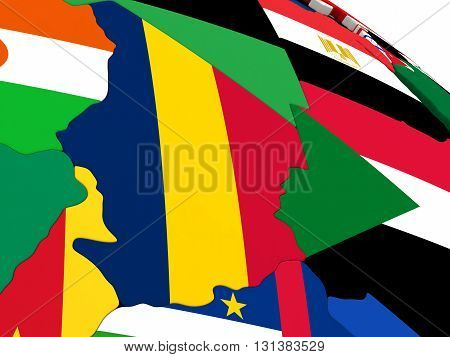Chad On Globe With Flags