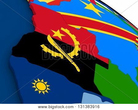 Angola On Globe With Flags