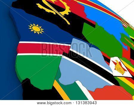 Namibia And Botswana On Globe With Flags