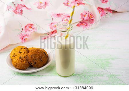 Homemade cookies and Milk. Breakfast cookies. Sweet pastry. Sweet dessert. Homemade cookies