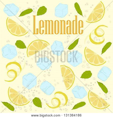 pattern lemonade carbonated water lemon slices lemon peel lemon peel ice cubes air bubbles mint leaves lemonade sign