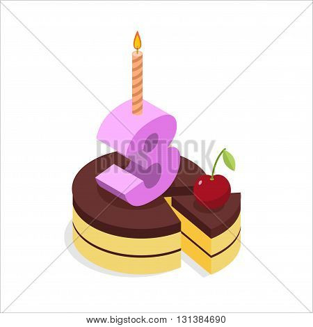 Birthday 3 Years. Cake And Candle Isometrics. Number Three With Candle. Celebration Of Anniversary C