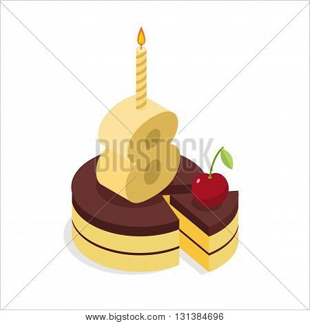 8 Years Old Birthday Cake Isometrics. Figure Eight With Candle. Celebration Of Anniversary Cake. Pie