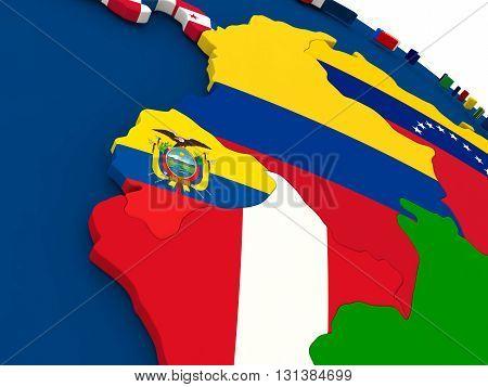 Ecuador On Globe With Flags