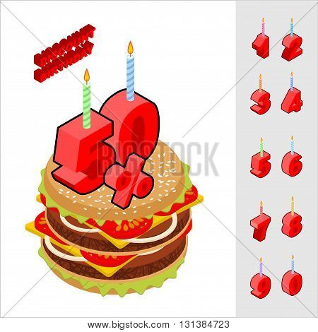 Discounts Birthday When Buying Hamburger. Candles And Figures For Sales. Reducing Cost Of Burger On