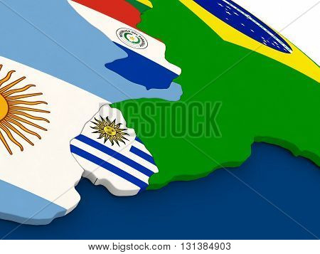 Uruguay On Globe With Flags