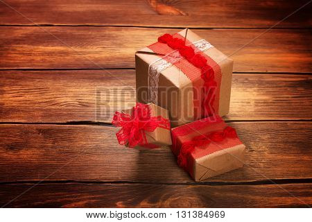 Pile of gift boxes. Valentines day concept. Toned image, selective focus