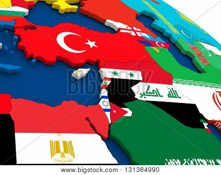 Middle East On Globe With Flags