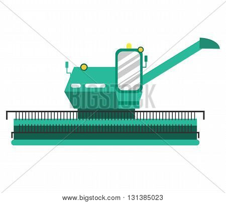 Agricultural combine in flat style. Agricultural vehicle and farm machine. Combine illustration in flat design - business concept. Agriculture machinery. Agriculture combine - vector stock.