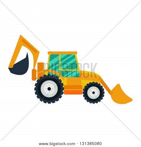 Yellow excavator on white background. Excavator in flat style. Agricultural Excavator.Agricultural vehicle and farm machine. Excavator illustration-business concept. Agriculture machinery.