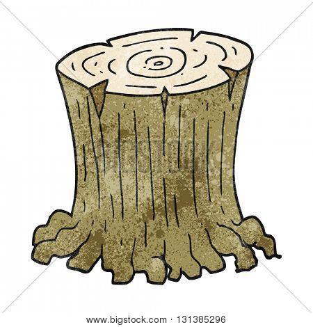 freehand textured cartoon big tree stump