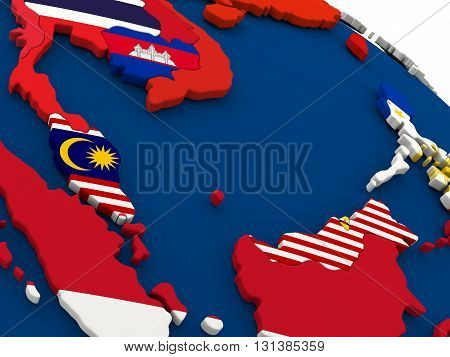 Malaysia On Globe With Flags