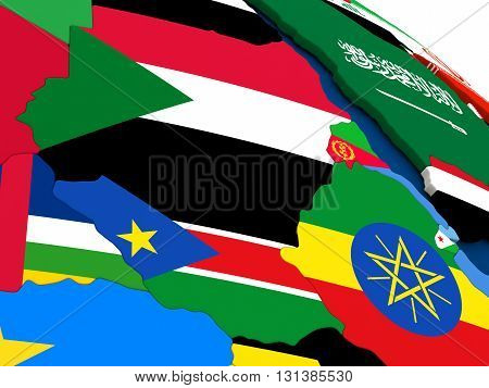 Sudan And South Sudan On Globe With Flags