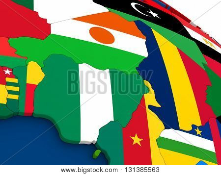 Niger And Nigeria On Globe With Flags