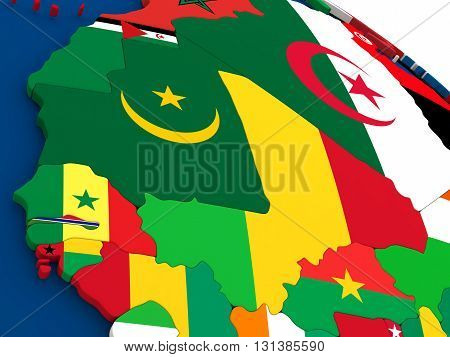 Mali And Senegal On Globe With Flags