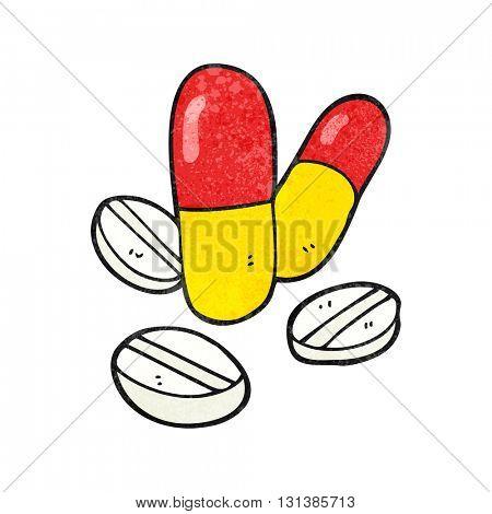 freehand textured cartoon pills