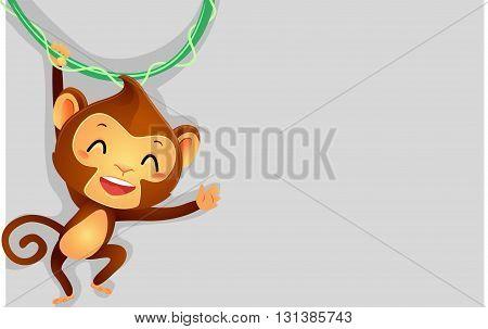 Vector Illustration of Monkey hanging on vine as Background