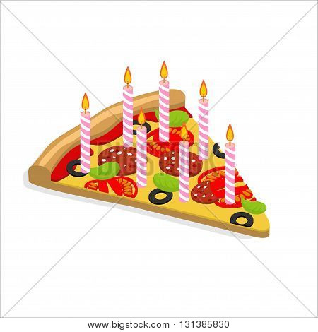 Holiday Candles Pizza With Isometrics. Birthday Fast Food. Food Is Food For  Birthday. Festive Meal
