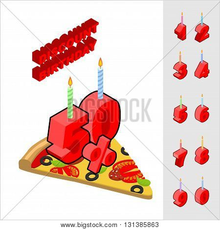 Discounts For Birthday When Buying Pizza. Candles And Figures For Sales. Reducing Cost Of Fast Food