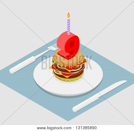 9 Years Birthday Burger. Hamburger And Candle Isometrics. Number Nine With Candle. Fast Food Anniver