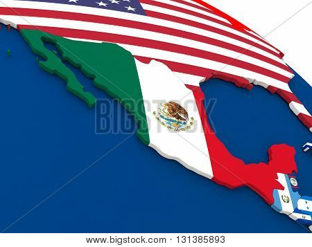 Mexico On Globe With Flags