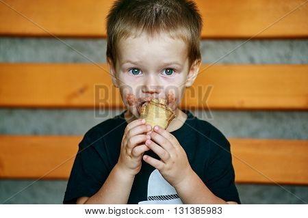 clever little boy with a chocolate ice cream portrait