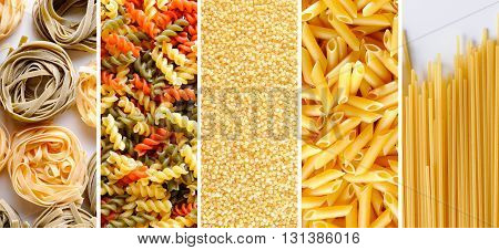 Collage with various types of uncooked pasta with white and brown background. Horizontal orientation with vertical detail