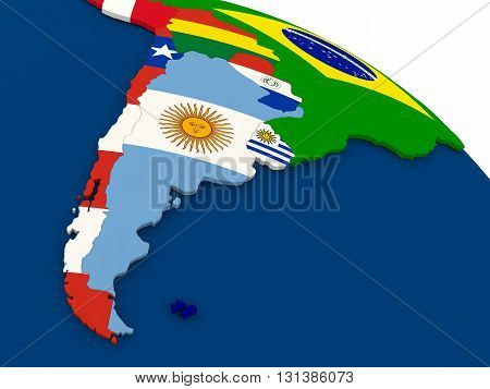 Argentina And Chile On Globe With Flags