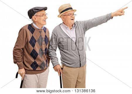 Elderly man showing something to his friend isolated on white background