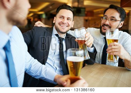 Businessmen with beer