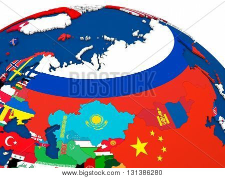 Russia On Globe With Flags