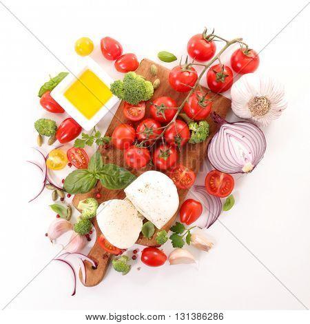 tomato,mozzarella and cooking oil