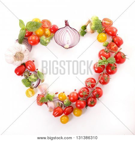 heart shape with vegetable,healthy food concept